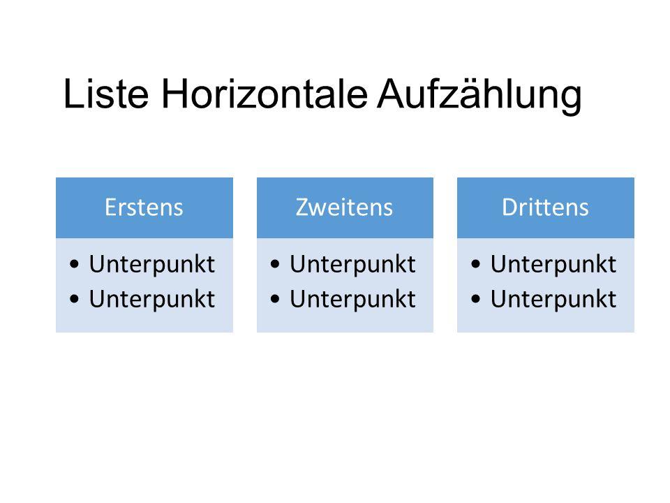 Liste Horizontale Aufzählung Erstens Unterpunkt Zweitens Unterpunkt Drittens Unterpunkt