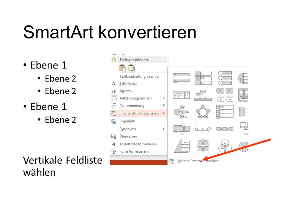 Re-Klick – SmartArt konvertieren Ebene 2 Ebene 1 Ebene 2 Ebene 1