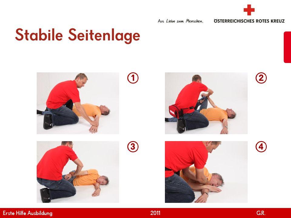 www.roteskreuz.at Version April   2011 Bewusstlosigkeit 34 Notfallcheck durchführen Bei normaler Atmung zur Seite drehen Notruf durchführen Basismaßnahmen durchführen Erste Hilfe Ausbildung 2011 G.R.
