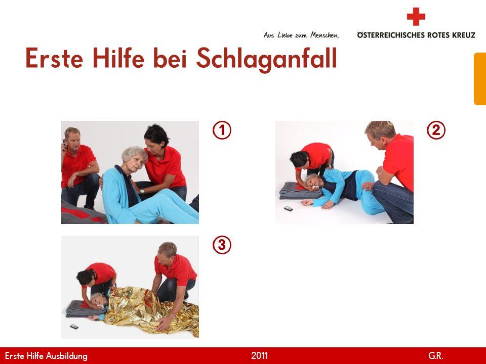 www.roteskreuz.at Version April   2011 Schlaganfall 48 Erkrankte beruhigen Notruf durchführen Erkrankte hinlegen Sich vergewissern, dass die Erkrankte gut atmen kann Basismaßnahmen durchführen Erste Hilfe Ausbildung 2011 G.R.