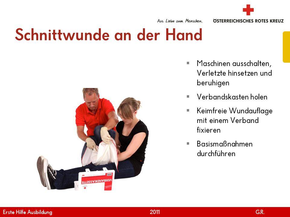 www.roteskreuz.at Version April | 2011 Schnittwunde an der Hand 87 Maschinen ausschalten, Verletzte hinsetzen und beruhigen Verbandskasten holen Keimf