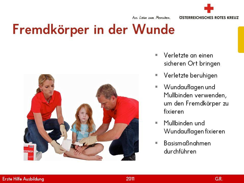 www.roteskreuz.at Version April | 2011 Fremdkörper in der Wunde 94 Verletzte an einen sicheren Ort bringen Verletzte beruhigen Wundauflagen und Mullbi