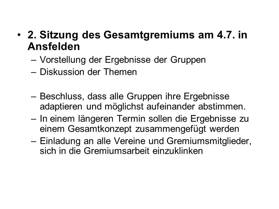 2. Sitzung des Gesamtgremiums am 4.7. in Ansfelden –Vorstellung der Ergebnisse der Gruppen –Diskussion der Themen –Beschluss, dass alle Gruppen ihre E
