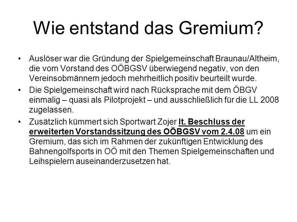Wie entstand das Gremium? Auslöser war die Gründung der Spielgemeinschaft Braunau/Altheim, die vom Vorstand des OÖBGSV überwiegend negativ, von den Ve