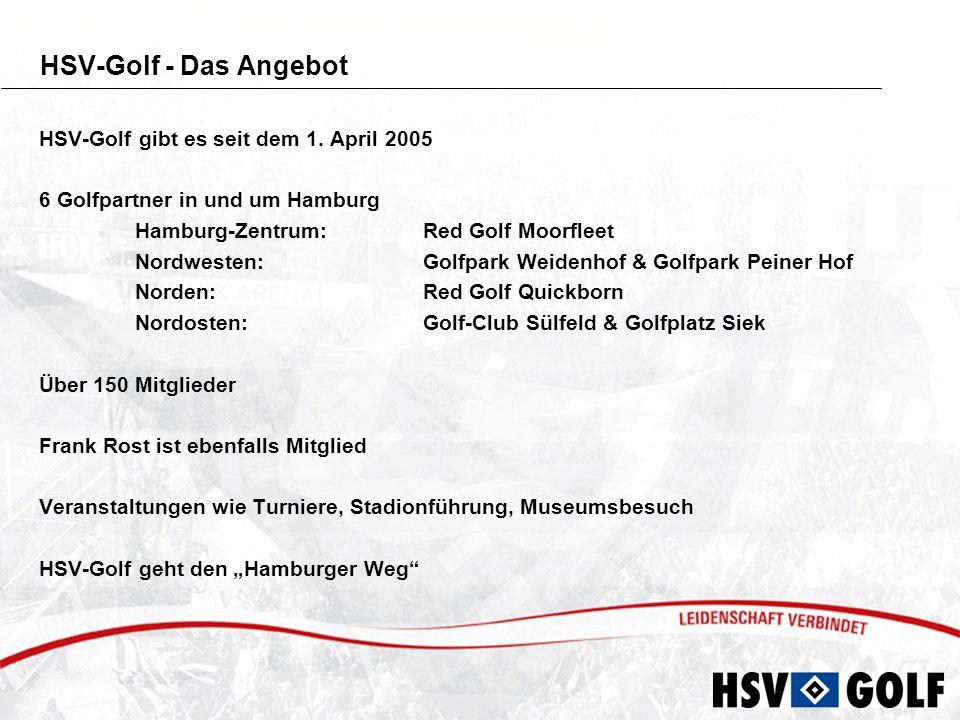 Basisleistungen Leistungen der Mitgliedschaft - Mitglied im Hamburger SV und im jeweiligen Golfclub - Mitglied im Deutschen Golf Verband plus DGV-Clubausweis - Verwaltung des Handicaps erfolgt im jeweiligen Golfclub - Keine Aufnahmegebühr beim jeweiligen Golfclub und beim HSV - Abbuchung erfolgt vierteljährlich