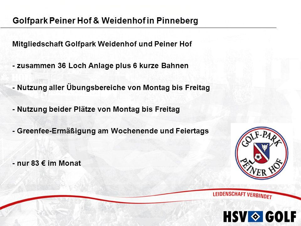 Angebot für die HSV-Senioren - Schnupperkurs über 2 Stunden - Anmeldung über die HSV-Senioren - Red Golf Moorfleet oder Red Golf Quickborn - Preis 20 pro Person