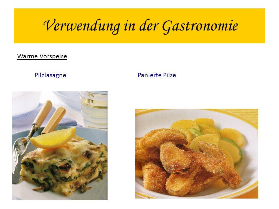 Verwendung in der Gastronomie Warme Vorspeise Pilzlasagne Panierte Pilze