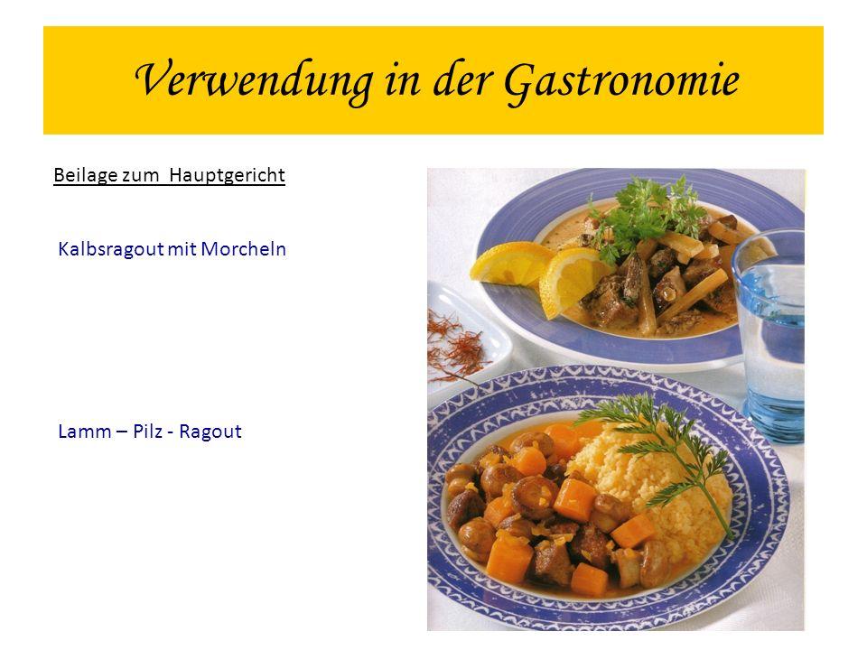Verwendung in der Gastronomie Beilage zum Hauptgericht Kalbsragout mit Morcheln Lamm – Pilz - Ragout