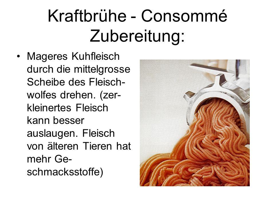 Kraftbrühe - Consommé Zubereitung: Mageres Kuhfleisch durch die mittelgrosse Scheibe des Fleisch- wolfes drehen. (zer- kleinertes Fleisch kann besser
