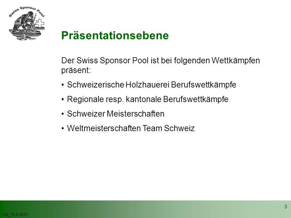 mli_15.4.2013 3 Präsentationsebene Der Swiss Sponsor Pool ist bei folgenden Wettkämpfen präsent: Schweizerische Holzhauerei Berufswettkämpfe Regionale resp.
