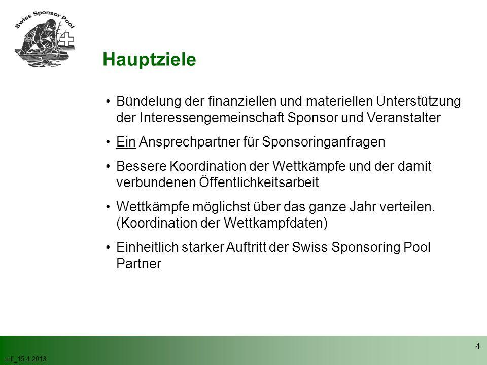 mli_15.4.2013 4 Hauptziele Bündelung der finanziellen und materiellen Unterstützung der Interessengemeinschaft Sponsor und Veranstalter Ein Ansprechpa
