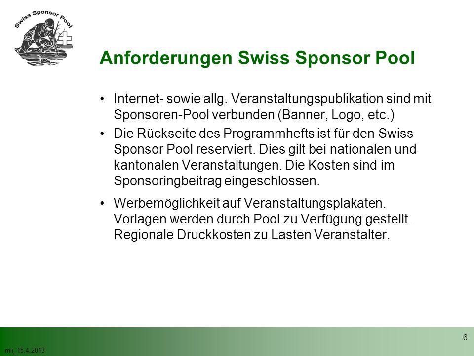mli_15.4.2013 6 Internet- sowie allg. Veranstaltungspublikation sind mit Sponsoren-Pool verbunden (Banner, Logo, etc.) Die Rückseite des Programmhefts