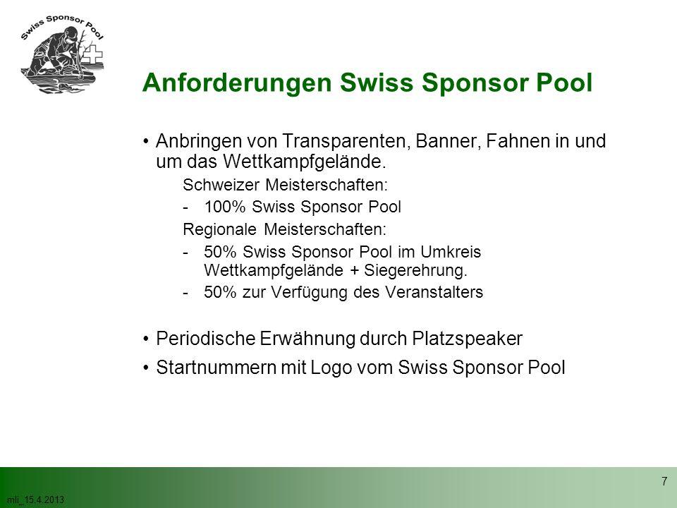 mli_15.4.2013 7 Anbringen von Transparenten, Banner, Fahnen in und um das Wettkampfgelände. Schweizer Meisterschaften: -100% Swiss Sponsor Pool Region