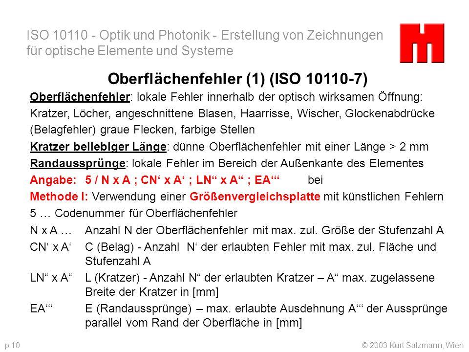 ISO 10110 - Optik und Photonik - Erstellung von Zeichnungen für optische Elemente und Systeme © 2003 Kurt Salzmann, Wienp 10 Oberflächenfehler (1) (IS