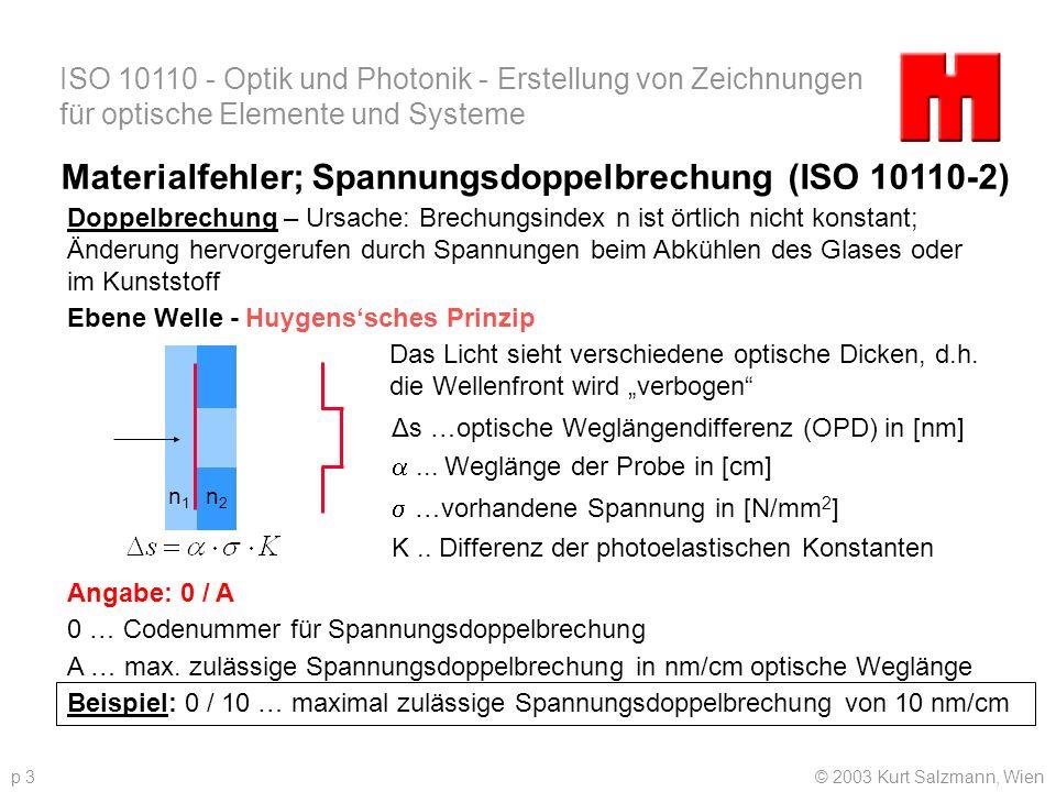 ISO 10110 - Optik und Photonik - Erstellung von Zeichnungen für optische Elemente und Systeme © 2003 Kurt Salzmann, Wienp 3 Materialfehler; Spannungsd