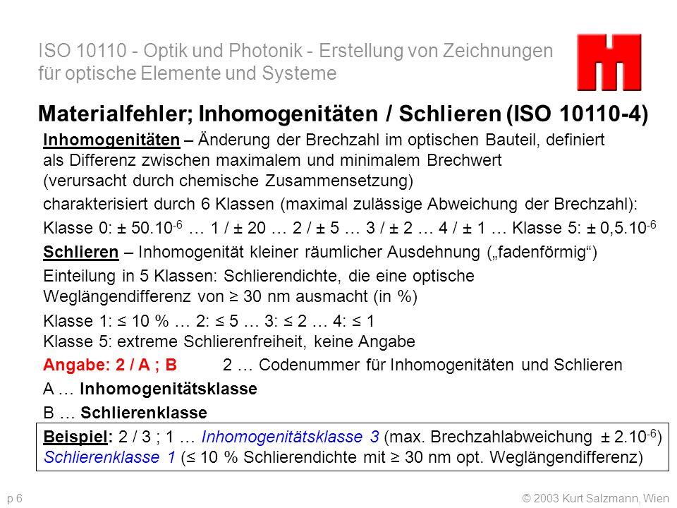 ISO 10110 - Optik und Photonik - Erstellung von Zeichnungen für optische Elemente und Systeme © 2003 Kurt Salzmann, Wienp 6 Materialfehler; Inhomogeni