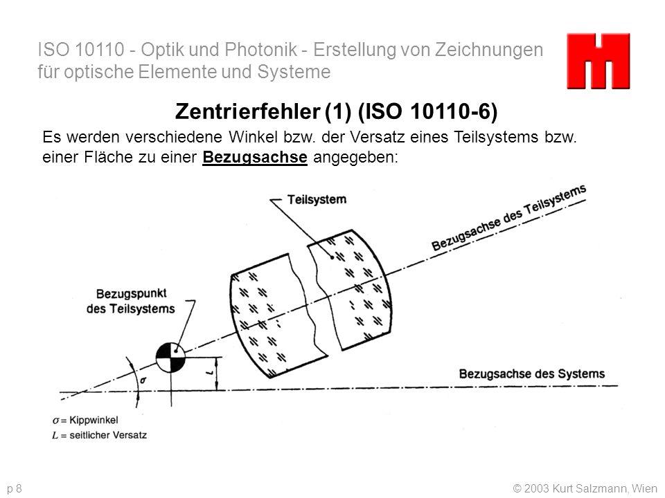 ISO 10110 - Optik und Photonik - Erstellung von Zeichnungen für optische Elemente und Systeme © 2003 Kurt Salzmann, Wienp 8 Zentrierfehler (1) (ISO 10