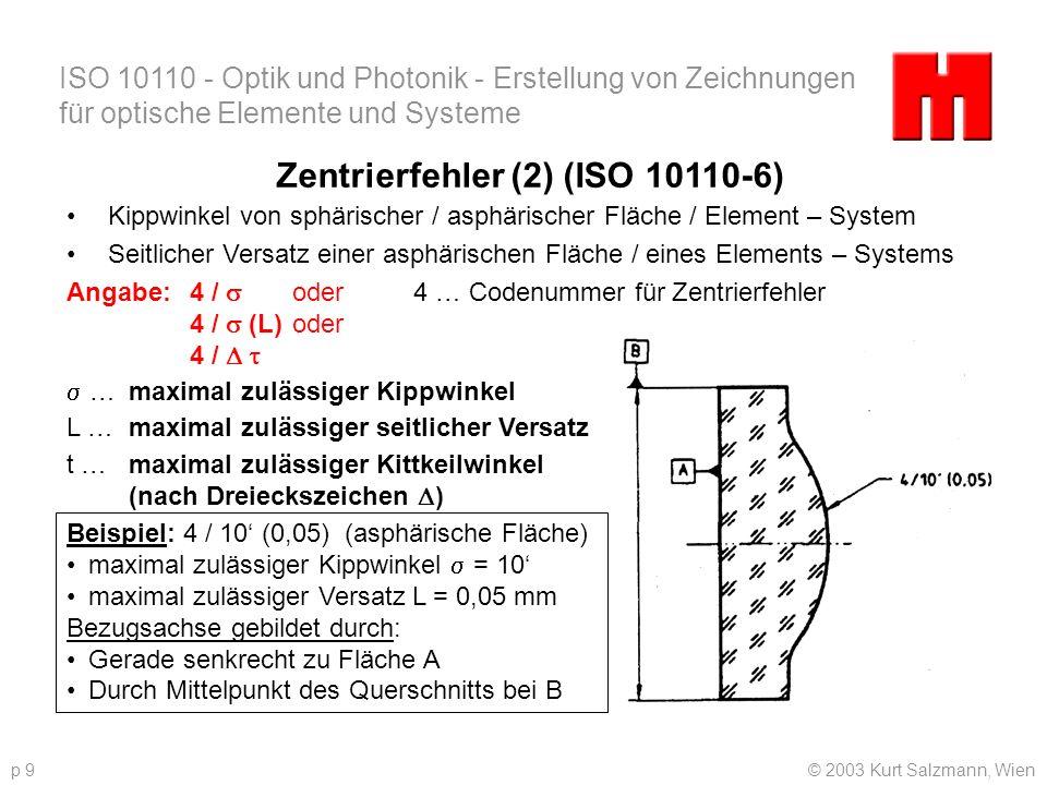 ISO 10110 - Optik und Photonik - Erstellung von Zeichnungen für optische Elemente und Systeme © 2003 Kurt Salzmann, Wienp 9 Zentrierfehler (2) (ISO 10