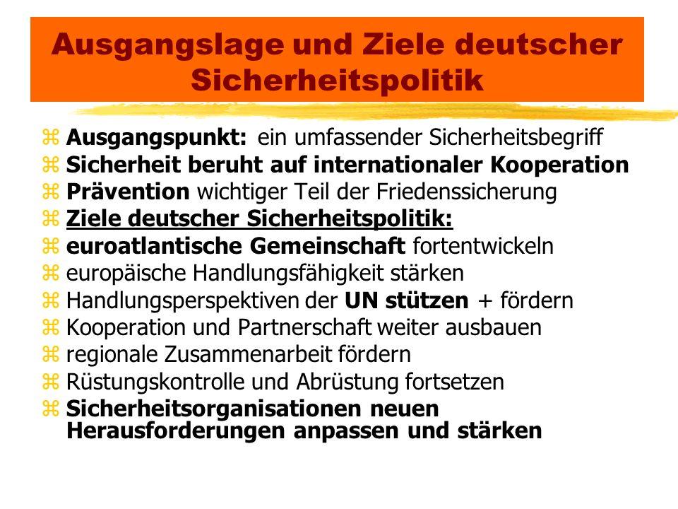 Ausgangslage und Ziele deutscher Sicherheitspolitik zAusgangspunkt: ein umfassender Sicherheitsbegriff zSicherheit beruht auf internationaler Kooperat