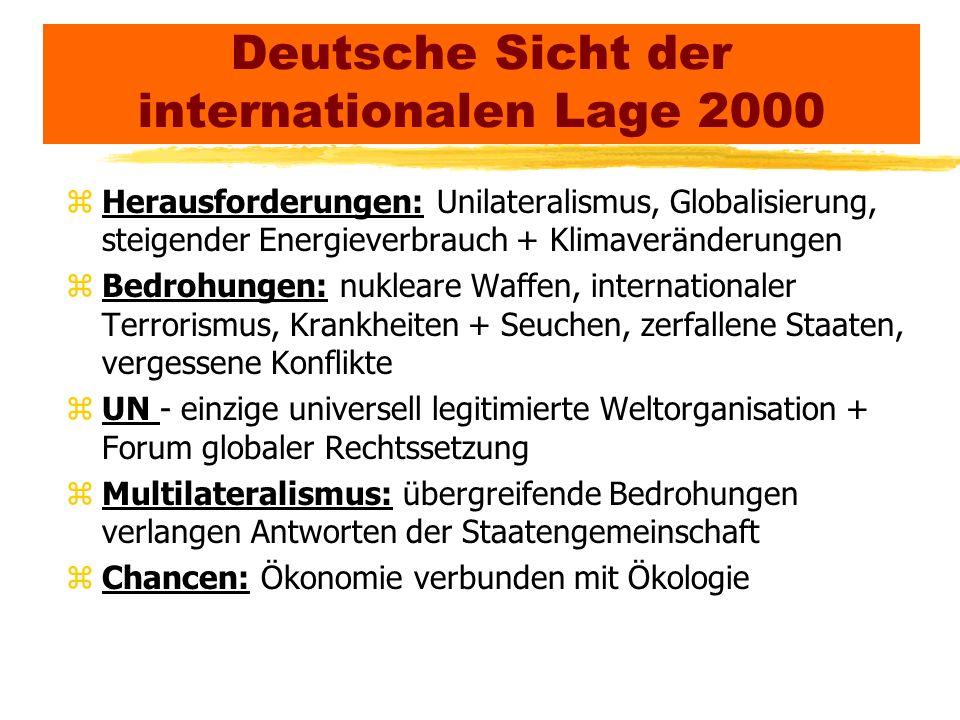 Deutsche Sicht der internationalen Lage 2000 zHerausforderungen: Unilateralismus, Globalisierung, steigender Energieverbrauch + Klimaveränderungen zBe