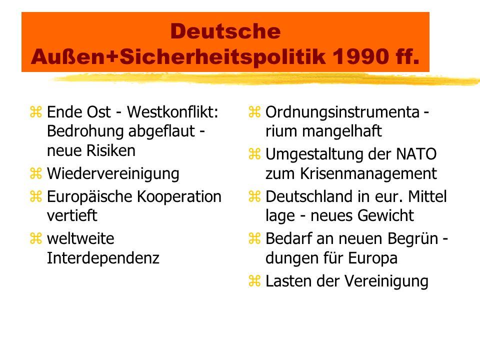 Neue Bedingungen deutscher Außen + Sicherheitspolitik zWegfall der existentiellen Bedrohung stattdessen vage, kaum militärische, multidimensionale Risiken zGlobalisierung mit zunehmender Vernetzung erhöht die weltweiten Abhängigkeiten + gegenseitigen Einflüsse zInternationale Verflechtungen führen zu Verminderung von Kompetenz + Handlungsfreiheit der Nationalstaaten zBedeutungsgewinn trans - und internationaler Akteure zInformationstechnik schafft neue weltweit wirksame Öffentlichkeit mit Einwirkung auf politische Entscheidungen zInnen - und gesellschaftspolitische Rahmenbedingungen beeinflußen außenpolitische Entscheidungen