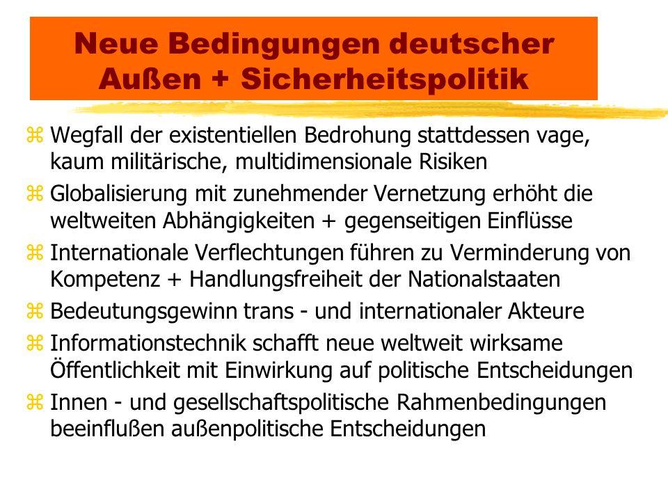 Neue Bedingungen deutscher Außen + Sicherheitspolitik zWegfall der existentiellen Bedrohung stattdessen vage, kaum militärische, multidimensionale Ris