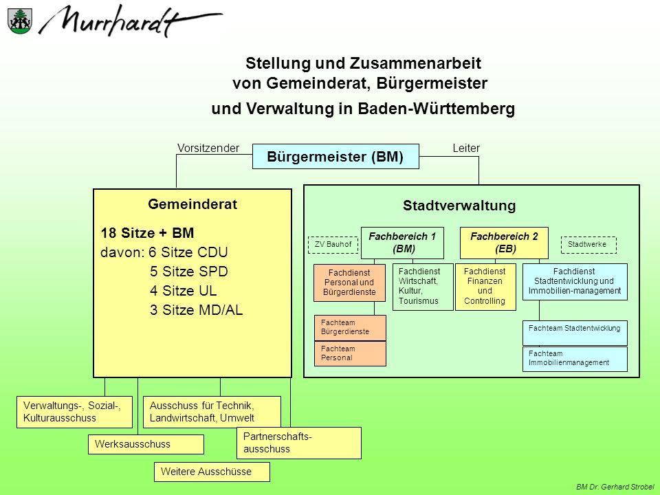 Leiter Stellung und Zusammenarbeit von Gemeinderat, Bürgermeister und Verwaltung in Baden-Württemberg Vorsitzender Stadtverwaltung Fachdienst Personal