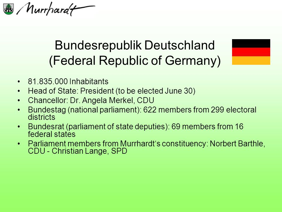 Bundesrepublik Deutschland (Federal Republic of Germany) 81.835.000 Inhabitants Head of State: President (to be elected June 30) Chancellor: Dr. Angel