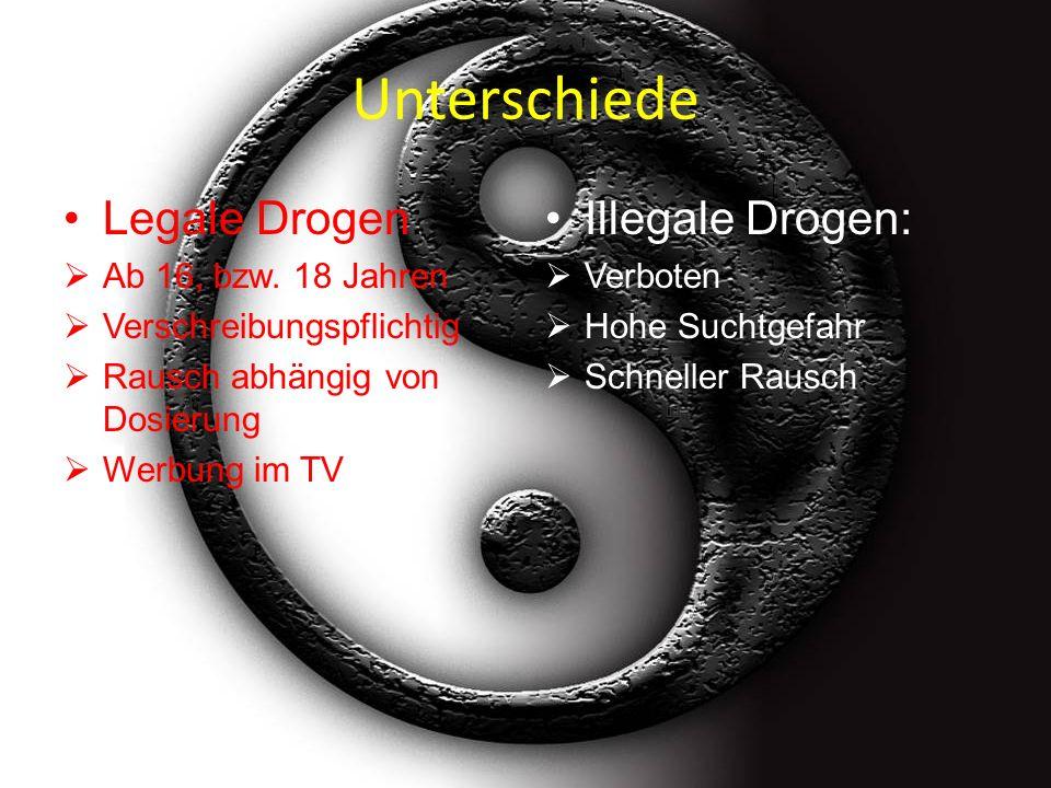 Unterschiede Legale Drogen: Ab 16, bzw.