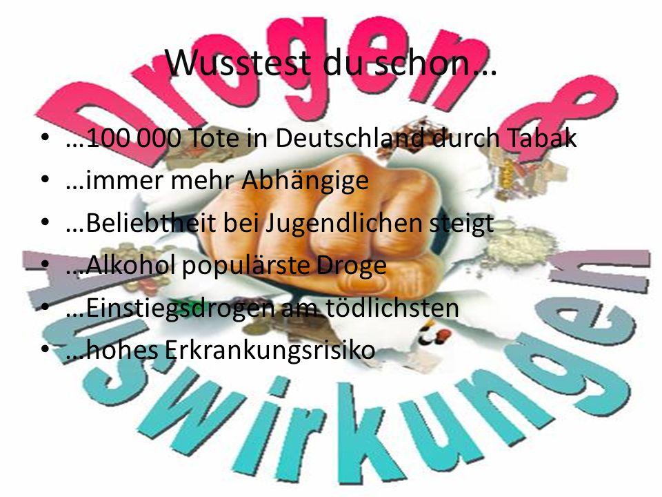 Wusstest du schon… …100 000 Tote in Deutschland durch Tabak …immer mehr Abhängige …Beliebtheit bei Jugendlichen steigt …Alkohol populärste Droge …Einstiegsdrogen am tödlichsten …hohes Erkrankungsrisiko