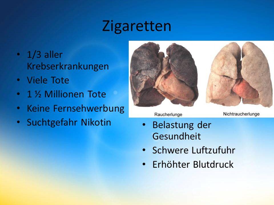 Zigaretten 1/3 aller Krebserkrankungen Viele Tote 1 ½ Millionen Tote Keine Fernsehwerbung Suchtgefahr Nikotin Belastung der Gesundheit Schwere Luftzufuhr Erhöhter Blutdruck