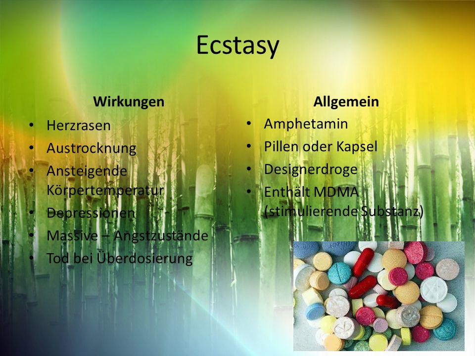 Ecstasy Wirkungen Herzrasen Austrocknung Ansteigende Körpertemperatur Depressionen Massive – Angstzustände Tod bei Überdosierung Allgemein Amphetamin Pillen oder Kapsel Designerdroge Enthält MDMA (stimulierende Substanz)