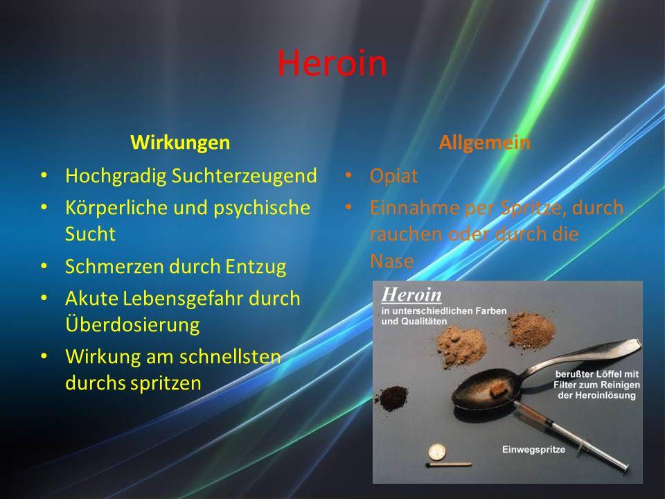Heroin Wirkungen Hochgradig Suchterzeugend Körperliche und psychische Sucht Schmerzen durch Entzug Akute Lebensgefahr durch Überdosierung Wirkung am schnellsten durchs spritzen Allgemein Opiat Einnahme per Spritze, durch rauchen oder durch die Nase