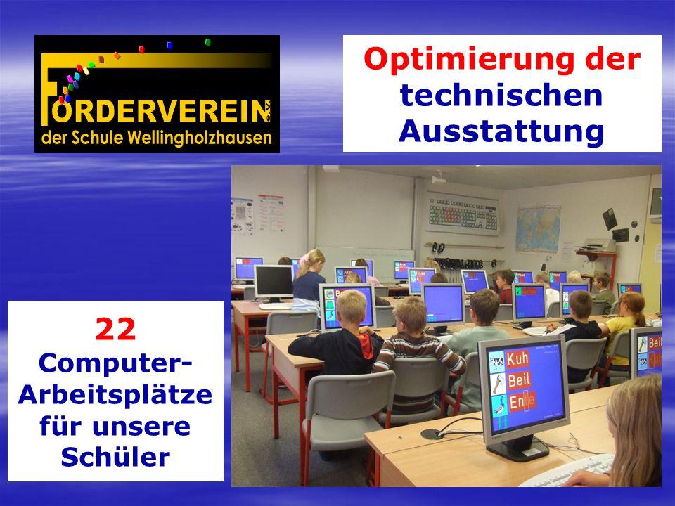 Optimierung der technischen Ausstattung 22 Computer- Arbeitsplätze für unsere Schüler