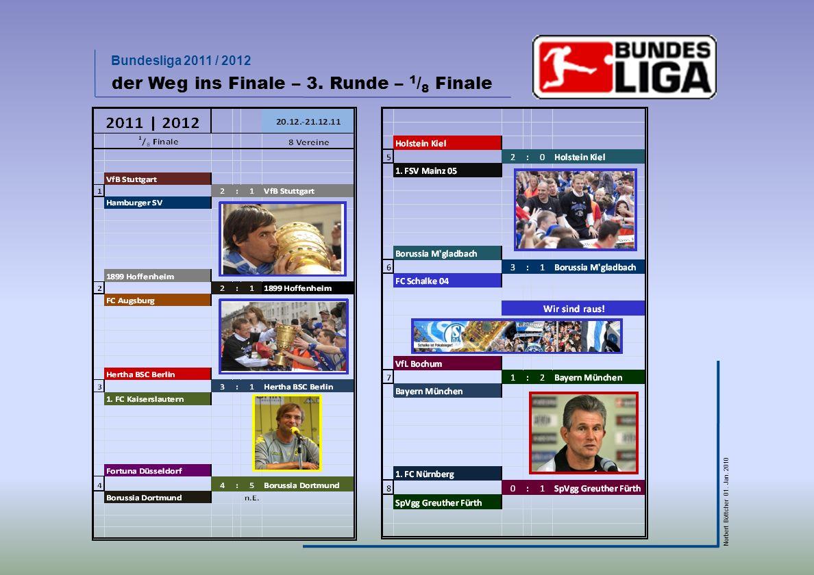 Bundesliga 2011 / 2012 Norbert Böttcher 01. Jan. 2010 der Weg ins Finale – 3. Runde – 1 / 8 Finale