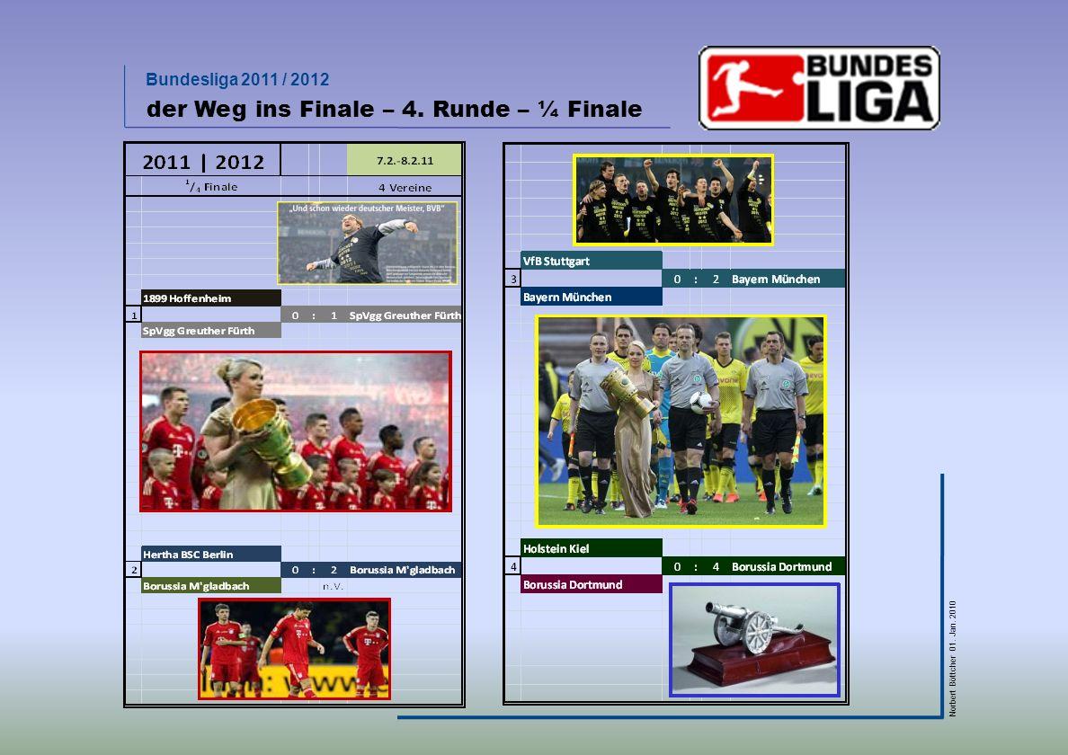 Bundesliga 2011 / 2012 Norbert Böttcher 01. Jan. 2010 der Weg ins Finale – 4. Runde – ¼ Finale