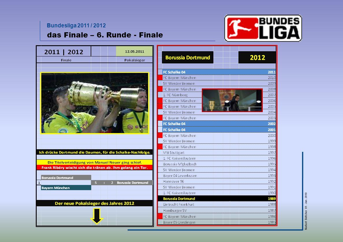 Bundesliga 2011 / 2012 Norbert Böttcher 01. Jan. 2010 das Finale – 6. Runde - Finale