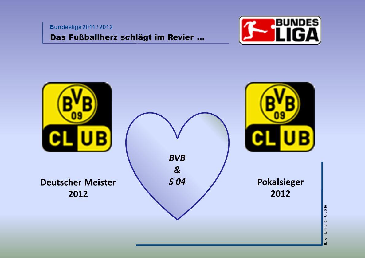 Bundesliga 2011 / 2012 Norbert Böttcher 01. Jan. 2010 Das Fußballherz schlägt im Revier … BVB & S 04 Deutscher Meister 2012 Pokalsieger 2012
