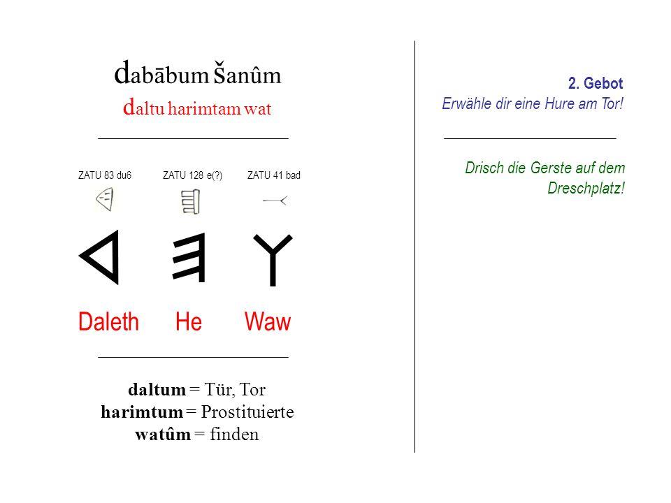 d abābum š alšum z anetiś halliša ţīb Zajin Chet Tet zanetum = die Geschmückte hallum = Oberschenkel ţubbum = sanft machen ZATU 37 ašZATU 127 dur2ZATU 431 ra Schlage (dem Rind) einmal aufs Hinterteil.