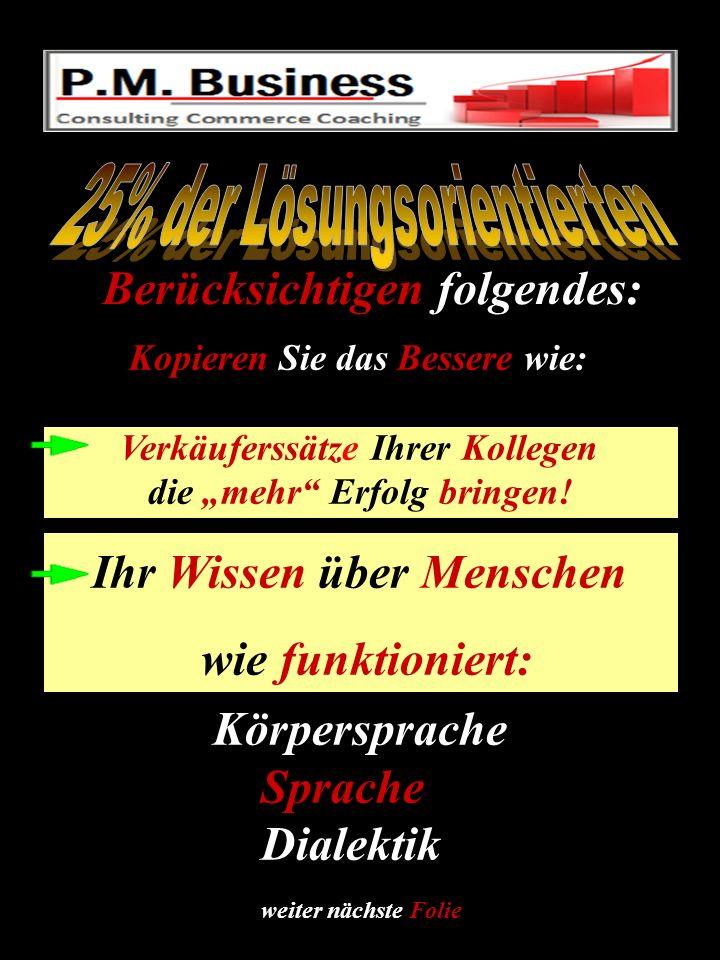 Ihr Kunde Beratung Abschluss Kunde fragt: Preisverteidigung Kunde bekommt Der Wie geht der Satz???.