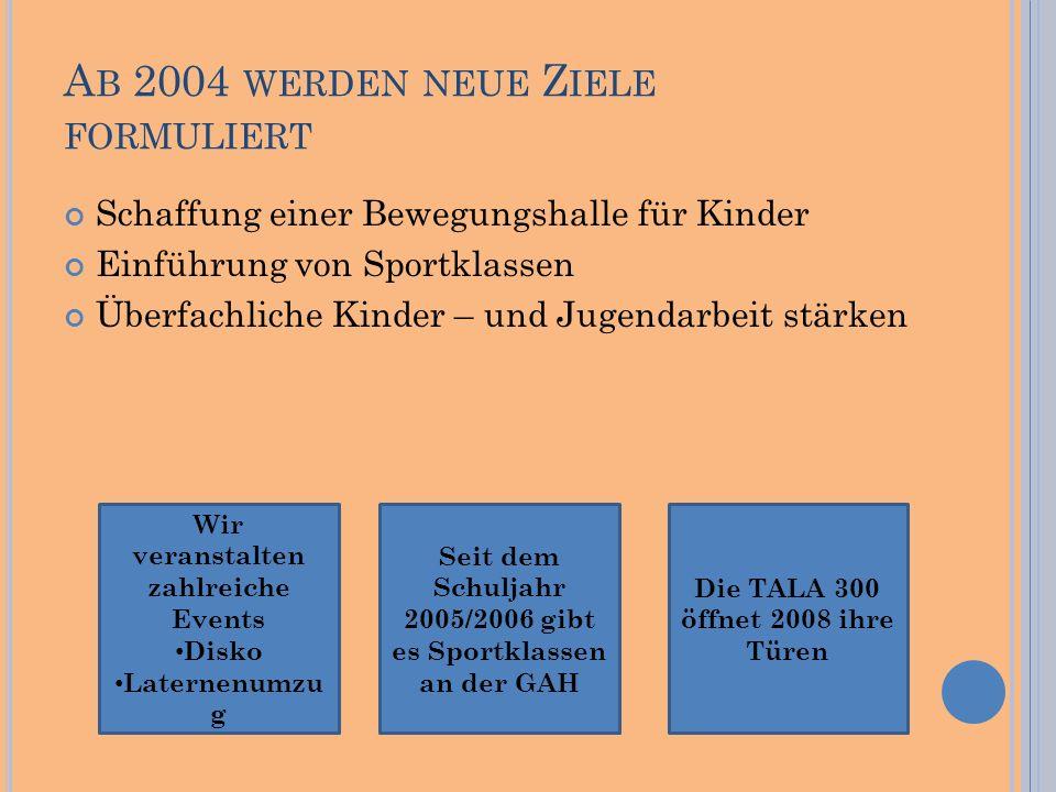 A B 2004 WERDEN NEUE Z IELE FORMULIERT Schaffung einer Bewegungshalle für Kinder Einführung von Sportklassen Überfachliche Kinder – und Jugendarbeit s