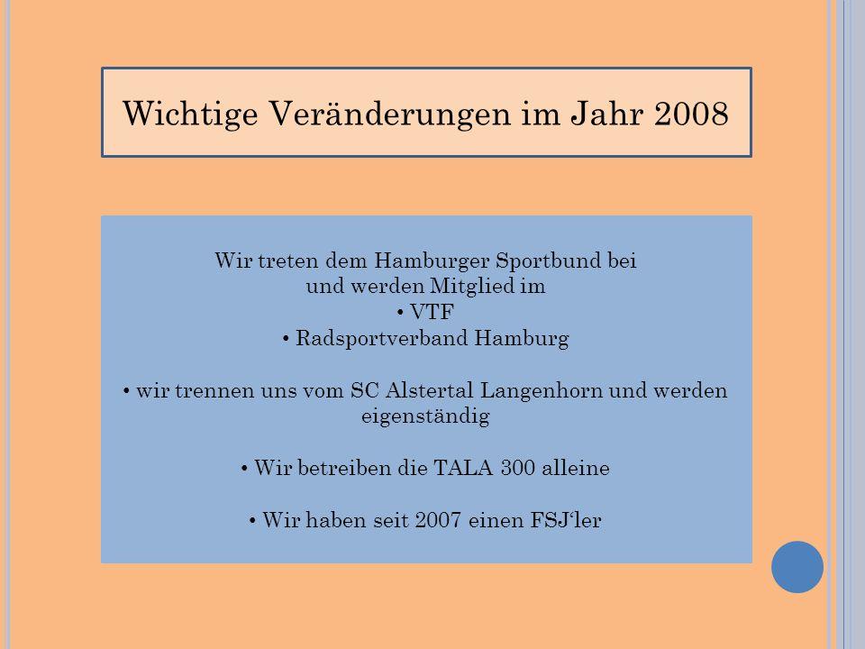 Wichtige Veränderungen im Jahr 2008 Wir treten dem Hamburger Sportbund bei und werden Mitglied im VTF Radsportverband Hamburg wir trennen uns vom SC Alstertal Langenhorn und werden eigenständig Wir betreiben die TALA 300 alleine Wir haben seit 2007 einen FSJler