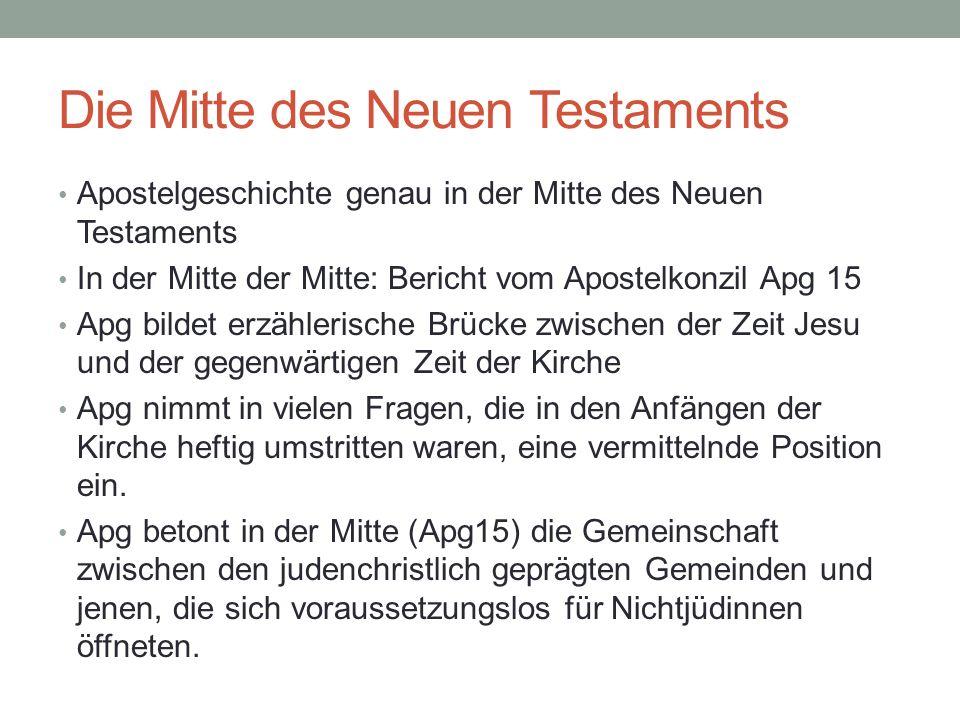 Die Mitte des Neuen Testaments Apostelgeschichte genau in der Mitte des Neuen Testaments In der Mitte der Mitte: Bericht vom Apostelkonzil Apg 15 Apg