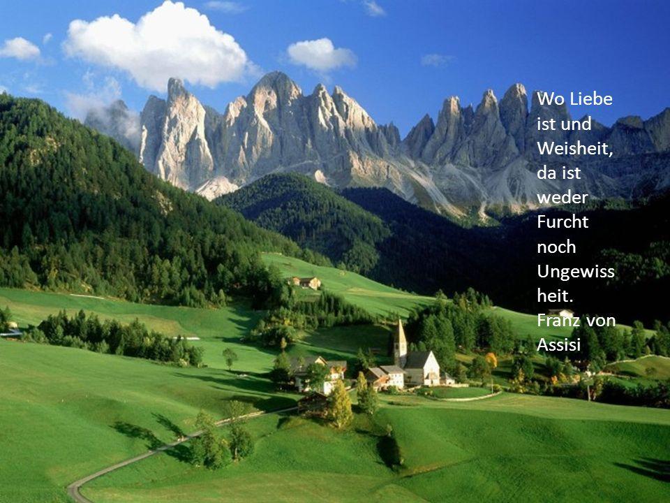 Wo Liebe ist und Weisheit, da ist weder Furcht noch Ungewiss heit. Franz von Assisi
