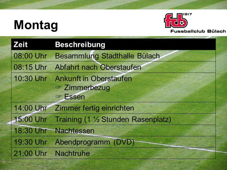 Montag ZeitBeschreibung 08:00 UhrBesammlung Stadthalle Bülach 08:15 UhrAbfahrt nach Oberstaufen 10:30 UhrAnkunft in Oberstaufen Zimmerbezug Essen 14:0