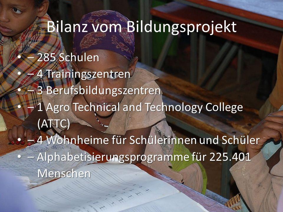 Bilanz vom Bildungsprojekt – 285 Schulen – 285 Schulen – 4 Trainingszentren – 4 Trainingszentren – 3 Berufsbildungszentren – 3 Berufsbildungszentren –
