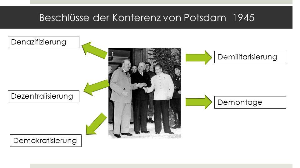 Umgang mit den Nazis Westliche Zonen: -Einstufung in Kategorien, z.B.