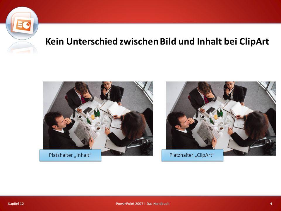 Kein Unterschied zwischen Bild und Inhalt bei ClipArt Kapitel 124PowerPoint 2007 | Das Handbuch Platzhalter Inhalt Platzhalter ClipArt