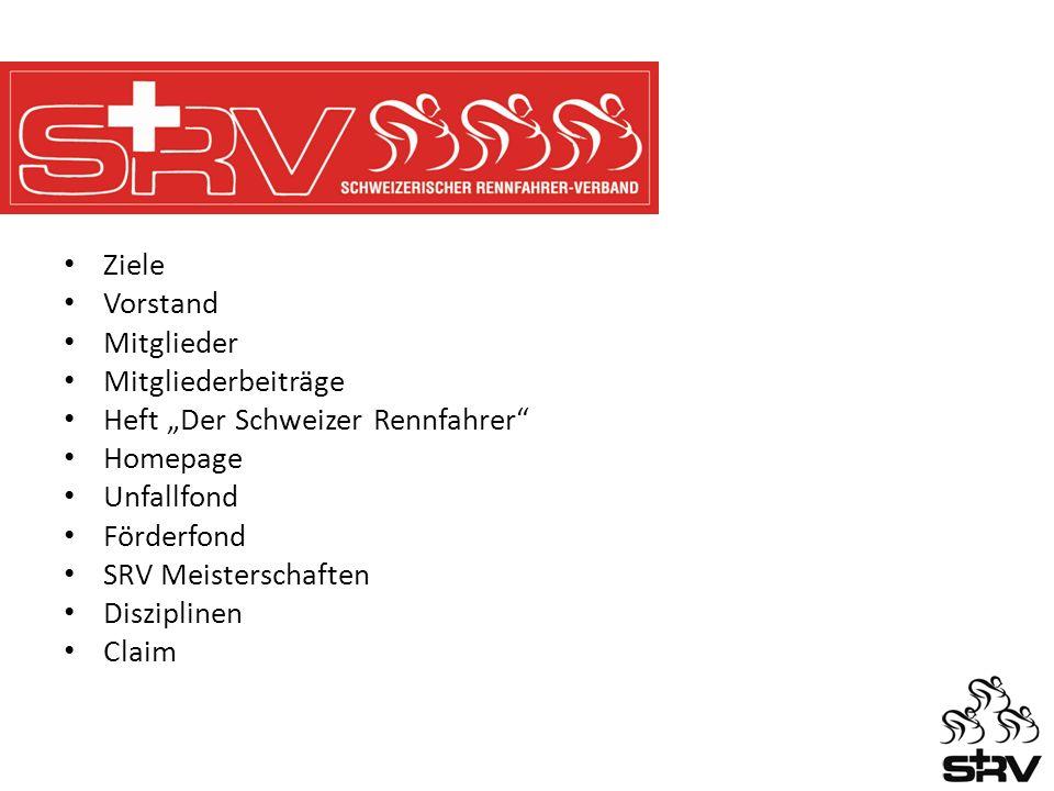 Ziele Vorstand Mitglieder Mitgliederbeiträge Heft Der Schweizer Rennfahrer Homepage Unfallfond Förderfond SRV Meisterschaften Disziplinen Claim