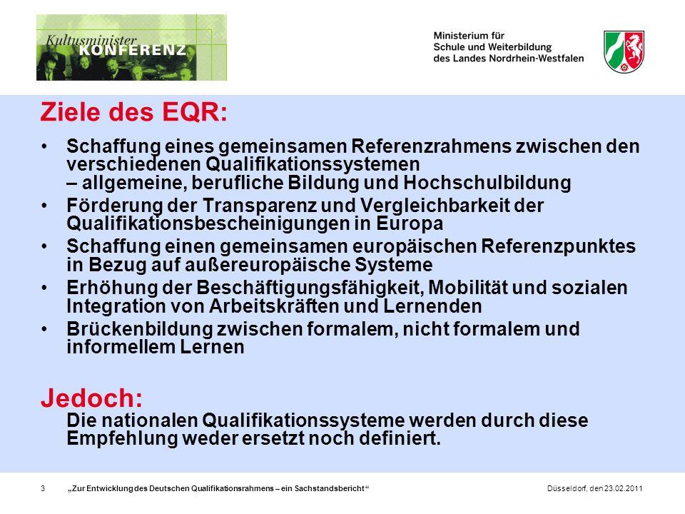 Zur Entwicklung des Deutschen Qualifikationsrahmens – ein Sachstandsbericht 14Düsseldorf, den 23.02.2011 Zuordnungsfragen: Welche Qualifikationen werden auf der untersten Stufe zugeordnet.